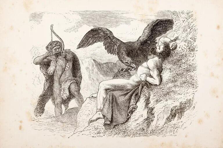 heracles disparando una flecha a un àguila