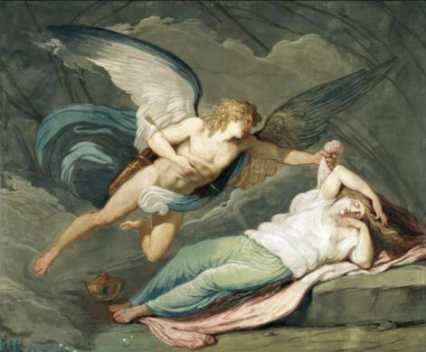 Pintura de Eros y Psique
